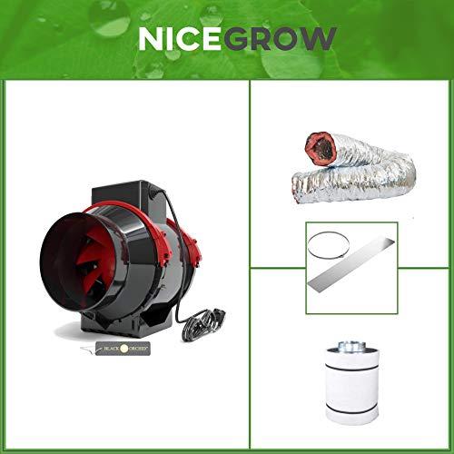 Nice Grow Abluft-Set Growzelt Black Orchid Hybrid Flo 350cbm/h Aktivkohlefilter Falcon