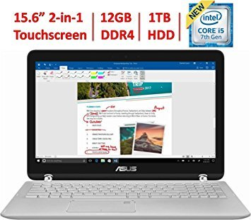 2018 Asus 360 Flip 2-in-1 15.6' FHD IPS Touchscreen Laptop, Intel Core i5-7200U up to 3.1GHz, 12GB DDR4, 1TB HDD, 802.11ac, Bluetooth, Webcam, HDMI, Type-C USB, Backlit Keyboard