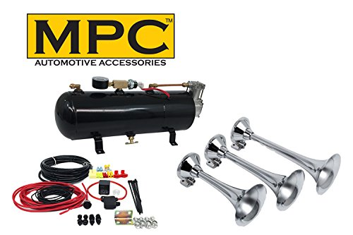 MPC Train Horn Kit - Triple Air Horns for Car or Truck. Includes 110 PSI Air System