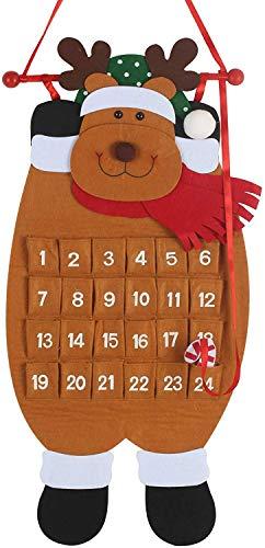 Calendario de Adviento Colgante Diseño de Papá Noel Navideño Calendario Cuenta Atrás 24 Días con Bolsillos Rellenable Regalitos para Niños Decoración para Navidad Hecho de Fieltro