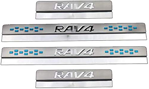 YLHJY 4 Protectores de umbral de Puerta de Acero Inoxidable para Toyota RAV4 2013 2014 2015-2020, Protector de Placa de Desgaste de umbral de Puerta, Accesorio de decoración de Estilo