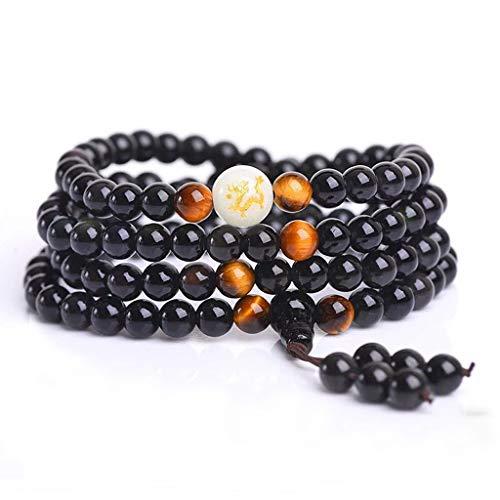 Wanfor Unglaubliche Schlafmittel Perlen 108 Obsidianschwarz Lichttherapie Multi Perlenarmbänder
