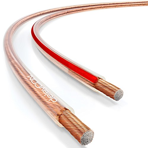 deleyCON 10m Cable de Altavoz 2x 1,5mm² Aluminio Recubierto de Cobre CCA Marca de Polaridad 2x48x0,20mm Trenza BauPVO/CPR - Transparente