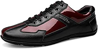 FYXKHH Men's Casual Shoes Patent Leather lace-up Shoes Fashion England Low-top Large Size Color Matching Leather Shoes