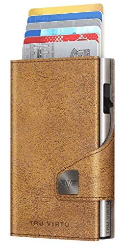 TRU VIRTU® Tarjetero Click & Slide Glitter marrón Dorado/Plata I Estuche para Tarjetas de crédito I con protección RFID-NFC I Billetera de Genuino Cuero Italiano I Billetera I Slim Wallet