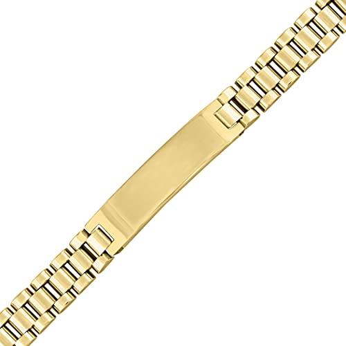Pulsera de acero inoxidable con acabado brillante para hombre de 10 mm de identificación de 8 pulgadas, regalo de joyería para hombres