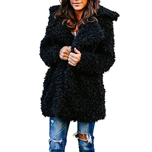 Damen WäRmen KüNstliche Wolle Mantel Jacke Revers Winter Oberbekleidung Parka Hoodies Trenchcoat Starke Wintermantel Warm Dicker Pelzkragen Frauen Faux Pelz Strickjacke Outwear(schwarz,XL)