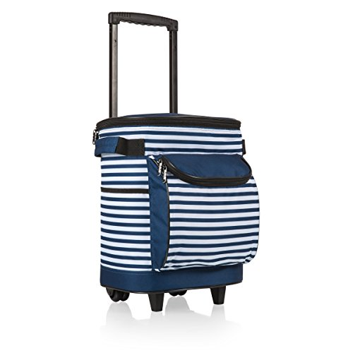 ONIVA - a Picnic Time Brand Insulated Portable Rolling Cooler on Wheels, Navy/White Stripe