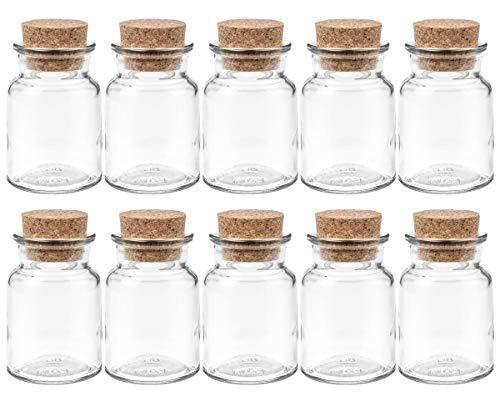hocz Gewürzgläser Set mit Press-korken | 10 teilig | Füllmenge 150 ml | Rund Hochwertiges Glas | Glasdose Glasgefäß ideal für Salz Pfeffer Sonnenblumenkerne kürbiskerne Kandis Bonbons