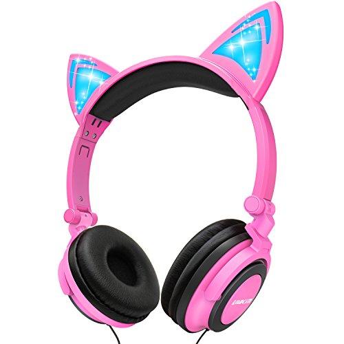 lobkin faltbar Draht über Ohr Kids Kopfhörer mit leuchtenden Licht für Mädchen Kinder Cosplay Fans, Katze Ohr Kopfhörer Rose