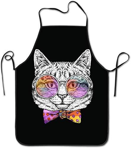 Gato con Gafas y Pajarita Borde Bloqueado Cuerda Impermeable y Duradera Delantal de Cocina Ajustable de fácil Cuidado Delantal de Chef para Hombres y Mujeres