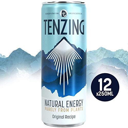 TENZING Natural Energy Drink, Energy Purely from Plants, Pack of 12 x 250 ml
