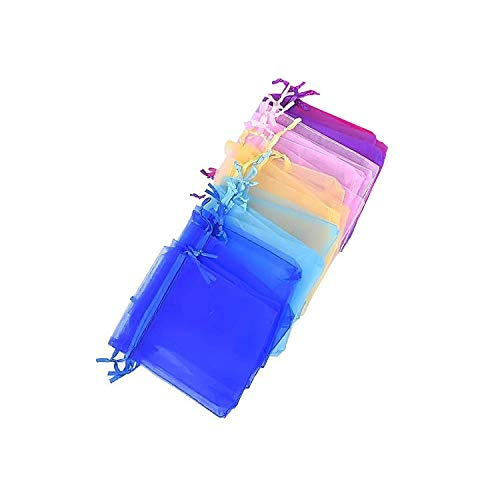 WedDecor 9 X 12cm Bunt Organza Geschenktüten, Schmuckschachteln Beutel für Hochzeitsparty, Schmuckschachteln, Dekoration, Party Geschenk, Verschenken, 50stk. - Mehrfarbig (9cm X 12cm), 100pcs