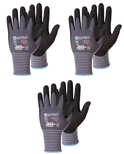 Safety Work Gloves MicroFoam Nitrile Coated-3 Pairs,KAYGO KG18NB,Seamless Knit Nylon Glove with Black Micro-Foam Nitrile Grip,Ideal for General Purpose,Automotive,Home Improvement,Painting