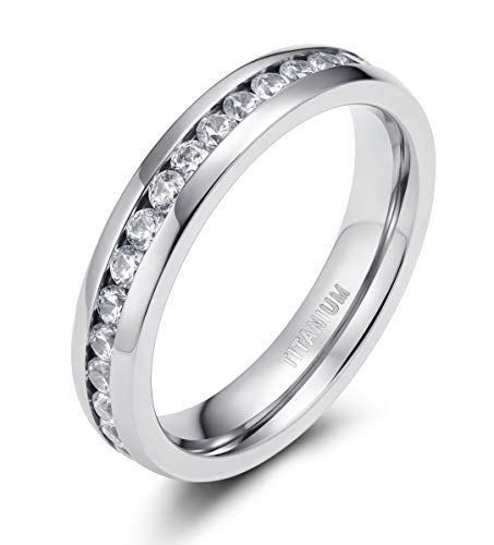 TIGRADE 4mm 6mm Titanium Ring Cubic Zirconia Engagement Ring Wedding Band Size 3.5 to 13, 4MM, Size 7