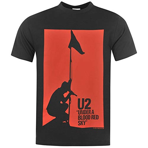 U2 Under a Blood Red Sky T-Shirt Mens Black/Red Casual Wear Top tee Shirt