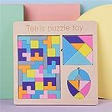 Juguetes De Construcción para Niños Bloque de Madera del Rompecabezas del Rompecabezas Chino Set Números Tetris Shape Puzzle Jigsaw Puzzle Toy Juguetes para Niños En Edad Preescolar
