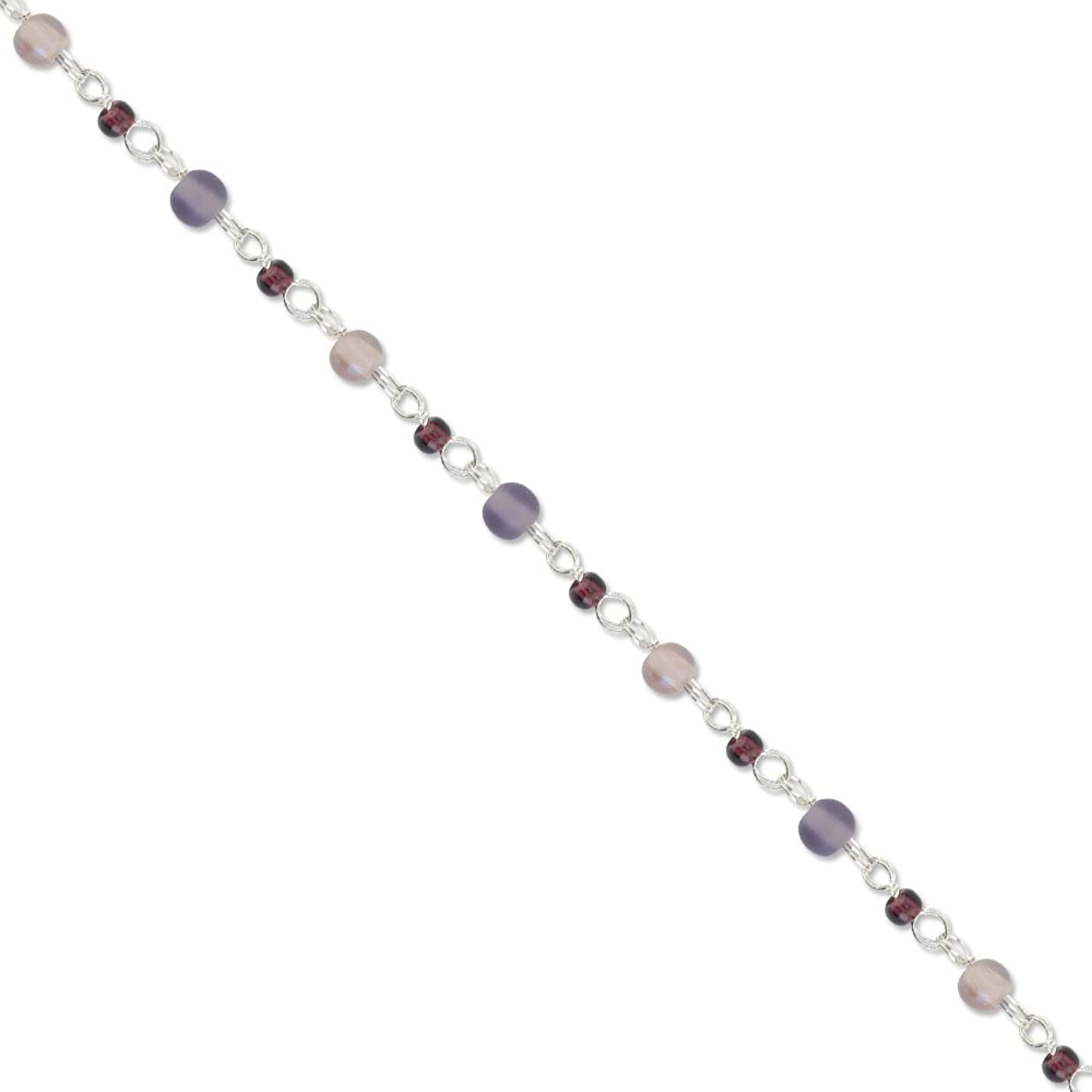 Artistic Wire Beadalon Chain Glass Bead Purple White Plated, 1-1/2-Meters