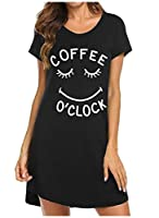 Romancly Womens Leisure Letter Printed Cozy Sleep Dress Breathable Nightgown AS5 M