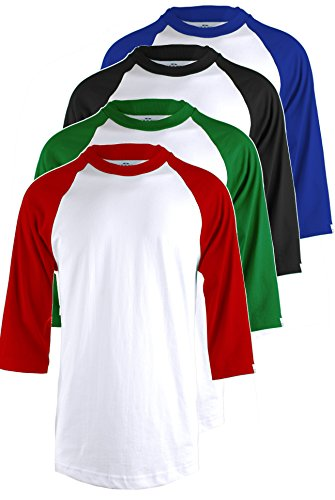 TOP LEGGING Men's 4 Pack Regular Fit 3/4 Sleeve Baseball T-Shirt -Cotton Raglan Jersey S-5XL WHRED_WHGREN_WHBLK_WHRBLU L