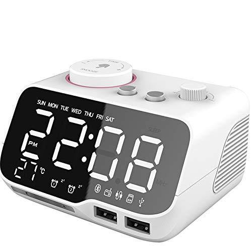 Mogzank Reloj Despertador Digital Altavoz Radio FM Temperatura Brillo Atenuador Temporizador Reloj Blanco - Enchufe UE