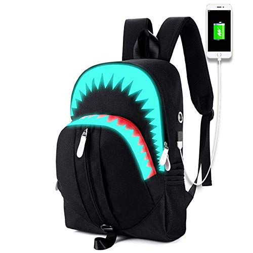YMXLJJ Big Mouth Shark Luminous Double Shoulder Bag,with USB Charging Port,Fits 15.6 Inch Laptop,Outdoor Sports Computer Bags