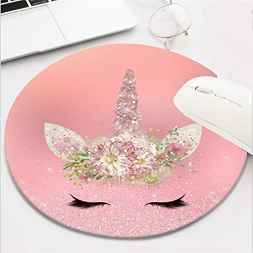 Computer Gaming Mouse Pad Waterproof Non-Slip Rubber Material Round Mouse Mat for Office and Home(8 Inch)-Unicorn Lashes Pink Rose Gold Glitter Flowers