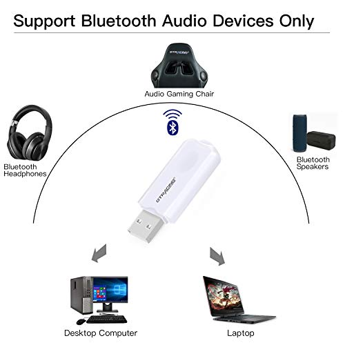 GTRACING Bluetooth USB Adapter Transmitter V5.0 Wireless Dongle for PC Laptop Computer Connects Bluetooth Speakers Headphones Audio Gaming Chair Support All Windows XP/Vista/7/8/10 BA001