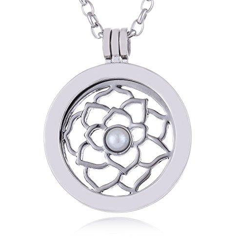 Morella Collana Donna in Acciaio Inox con Coins Moneta amuleto Ciondolo Rotondo 33 mm Fiori di Rosa in in Sacchetto di Velluto