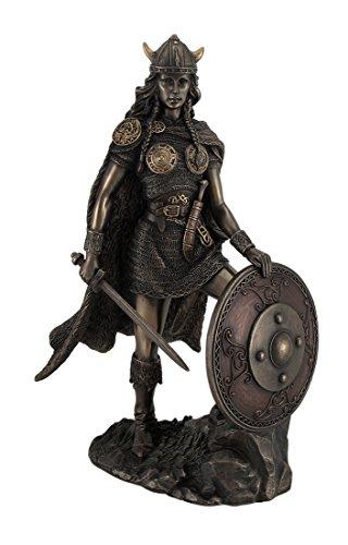 Veronese Design Viking Shieldmaiden Bronze Finished Statue Norse Mythology