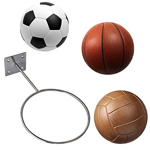 Montado en la pared Deportes titular de la bola estante exhibición de acero (negro) bola de fútbol baloncesto