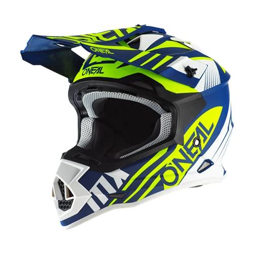 O'NEAL | Casco de Motocross | MX Enduro | Carcasa ABS, Estándar de Seguridad ECE 2205, Ventilación para una óptima refrigeración | Casco 2SRS Spyde 20 | Adultos | Azul Blanco Amarillo | Talla XL