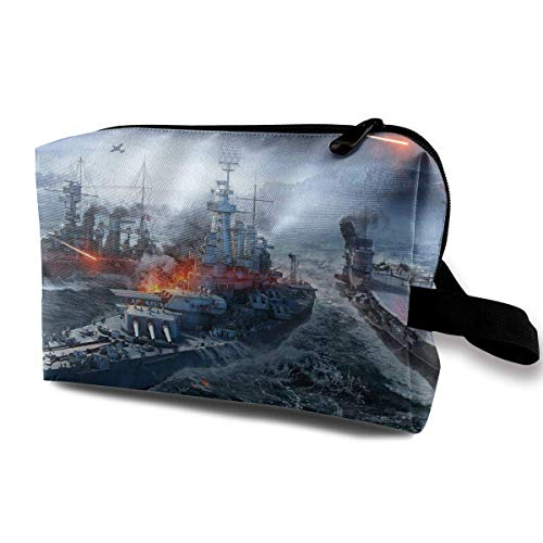 Sarships Naval Sea Battle Portable Storage Storage Bags Lage Cosmetic Packing Bag with Zipper for Travel Cubes Set for Travel
