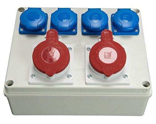 Baustromverteiler Wandverteiler 4 x 250 V /16A Schuko + 2 x CEE 16A /400V