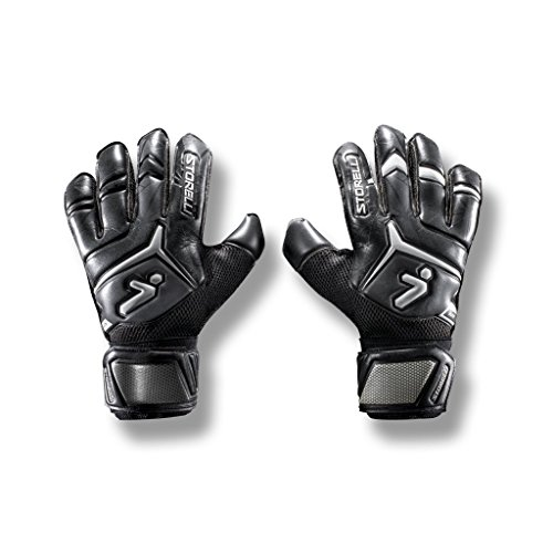 Storelli Gladiator Elite 2.0 Goalkeeper Gloves | High-Performance Soccer Goalie Gloves | Premium Finger and Hand Protection | Black & White | Size 8
