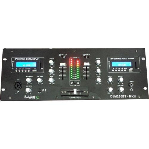 Ibiza 15-2381 2-Kanal DJ Mischpult mit USB, SD und Bluetooth