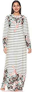 Kady Floral-Print Long Sleeves Striped Maxi Nightgown for Women