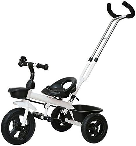 CGN- Kinder Fahrrad, Baby Kinderwagen Dreirad Kinder Auto Fahrrad Trolley Weißh