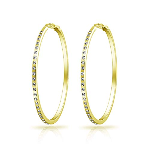 Gold 50mm Hoop Earrings Created with Austrian Crystals