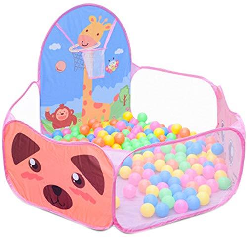 Ctzrzyt Tipi Al Aire Libre de Dibujos Animados Plegable NiiOs Piscina de Bolas de OcéAno para NiiOs Canasta de Bolas de Carpa para BebéS Juguetes de Juego Juguete Educativo (Rosa)