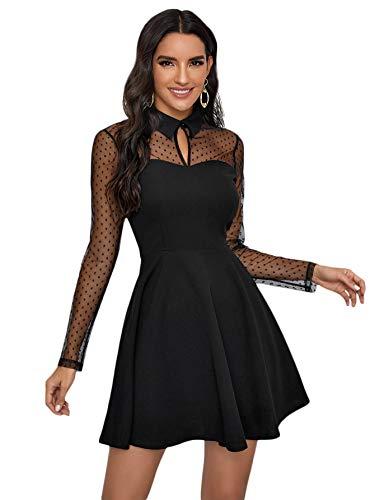 DIDK Damen Spitzenkleid Elegant Minikleid Elegant A Linie Partykleid Hohe Taille Netz Kleid Festliches Kleid Einfarbig Faltenkleid Sexy Shortkleid Schwarz#1 XL