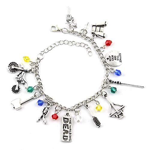 Bijoux d art personnalisés, 2pcs film et téléviseur entourant la marche marine alliage bracelet à la main bijoux multi-pendentif combinaison combinaison bracelet créatif bracelet bijoux accessoires pe