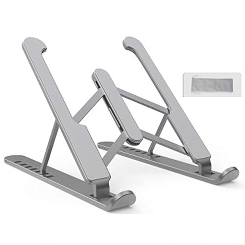 JGAIHW Laptop Table Stand Adjustable Riser Laptop Stand – Portable Laptop Stand with Storage Bag Ergonomic Adjustable 6/7 Levels Height Adjustment, Gray