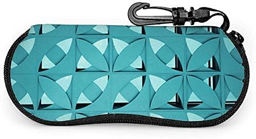 Estuche blando para anteojos con diseño gráfico geométrico azul-azul con forma de flor de burbuja para mujeres y hombres