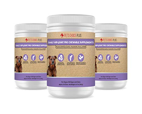 Pet's Choice Plus Dog Glucosamine Chews Hip and Joint Supplement for Dogs | Maximum Strength Natural Pain Relief and Mobility Dog Joint Supplement with Chondroitin, MSM and Omega 3