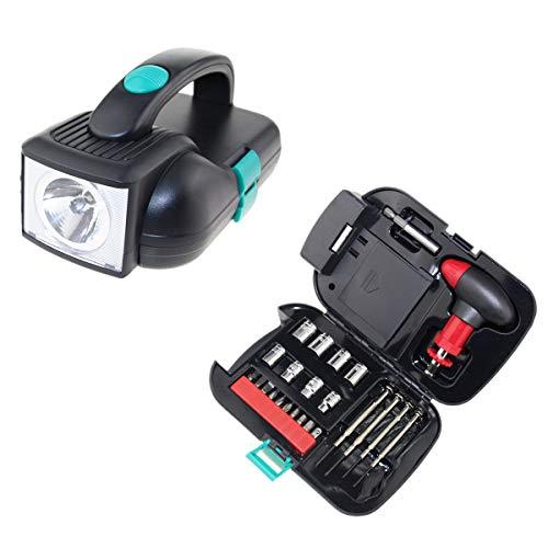 Linterna LED y kit de herramientas de viaje de 24 piezas, incluye mango de trinquete, 10 bits, 8 enchufes y 4 destornilladores, para camping, senderismo, al aire libre y coche, requiere 4 pilas AA