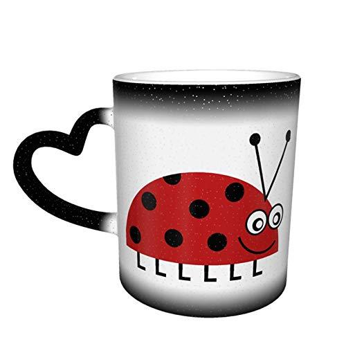 Taza que cambia de color de dibujos animados de mariquita Gran diseño de taza de café Taza de cerámica sensible al calor, 11oz-S5P
