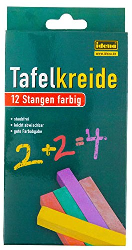 Idena 621724 - Tafelkreide in Faltschachtel, 12 Stangen, verschiedene Farben