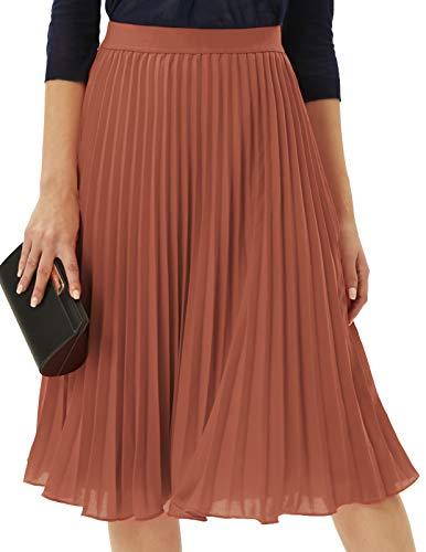 Womens Classy Vintage Chiffon Swing Pleated A-line Skirt Brown XL