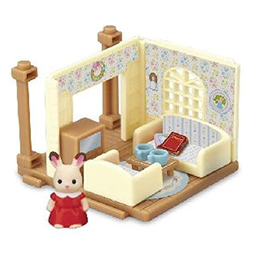 シルバニアファミリーミニシリーズ そよかぜ丘のお家 (カバヤオリジナル食玩) [4.リビングルームとショコラウサギの女の子(フレアちゃん)](単品)